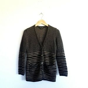 Pendleton Striped Cardigan Large Black Brown Wool